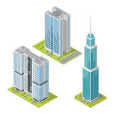 Set of realistic office buildings, isometric skyscrapers. Vector illustration. Royalty Free Stock Photo