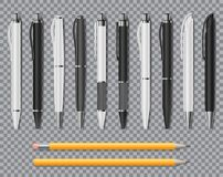 Set of Realistic office Elegant pens and pencil isolated on transparent background. Office Blank white and black Ball. Pens. Vector illustration EPS 10 Stock Image