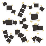 Set of realistic  photo frames on sticky tape, pins and rivets   beige background. Set of realistic  photo frames on sticky tape, pins and rivets  on beige Royalty Free Stock Photography