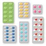 Set of realistic pills blisters with tablets and capsules. Plastic package with medical drugs Royalty Free Stock Images