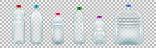 Set of realistic plastic bottles of various shapes and sizes. Empty bottles of mineral water and other drinks. Vector illustration on transparent background vector illustration