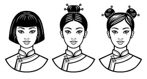 Set of realistic portraits of the young Chinese girls with different hairstyles. Royalty Free Stock Photos