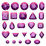 Set of realistic purple jewels. Amethysts Royalty Free Stock Photography
