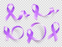 Set of realistic purple ribbons symbol of World Epilepsy day. March 26. Vector. Set of realistic purple ribbons symbol of World Epilepsy day. March 26. Vector stock illustration