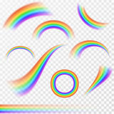 Set of realistic rainbows in different shape on transparent background. Vector illustration Royalty Free Stock Photo
