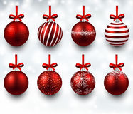 Set of realistic red christmas balls. Stock Photos