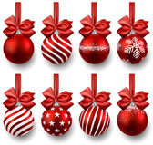 Set of realistic red christmas balls. Royalty Free Stock Photography