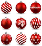 Set of realistic red christmas balls. Royalty Free Stock Photo