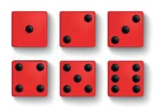 Set of realistic red dice on white background. Set of red realistic dice on white background vector illustration