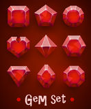 Set of realistic red gems of various shapes. Ruby collection. Elements for mobile games or decoration. stock illustration