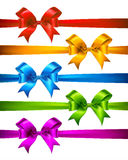 Set of Realistic Satin Ribbons and Bows. Stock Images