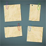 Set of realistic scraps of paper with clips isolat Royalty Free Stock Photos