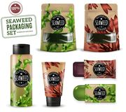 Realistic Sea Weed Cosmetic Packaging vector illustration