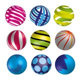 Set of realistic shiny colorful balls. Vector illustration. Set of realistic shiny colorful 3d balls. Vector illustration Stock Photos