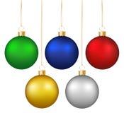 Set of realistic shiny colorful hanging christmas baubles isolat. Ed on white background Stock Photo