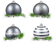 Set of realistic silver christmas balls. Royalty Free Stock Photo
