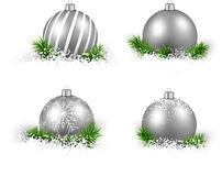 Set of realistic silver christmas balls. Stock Photography