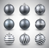 Set of realistic silver christmas balls. Royalty Free Stock Image