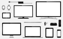 Set of realistic smart tv, computer monitors, laptops, tablet, mobile phone, smart watch, usb flash drive, gps navigation system d. Evice and tv box receiver Royalty Free Stock Images