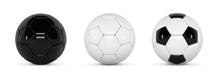 Set of realistic soccer balls or football ball on white background. 3d Style vector Ball. Soccer black and white balls royalty free illustration