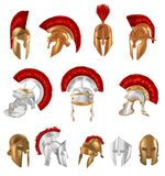 Realistic Spartan Ancient Greek, Roman helmet. Silver and bronze protective. Set of realistic Spartan Ancient Greek, Roman helmet. Helm of the Gladiator`s Stock Photos