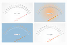 Set of realistic speedometers Stock Images