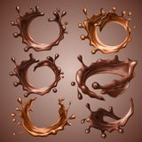 Set of realistic splashes and drops of melted dark and milk chocolate. Dynamic circle splashes of whirl liquid chocolate. Hot coffee, cocoa. Design elements stock illustration