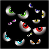 Set of realistic spooky, scary,  human eye ball with colorful pupil, iris. Halloween vector illustration isolated on black backgro Royalty Free Stock Images