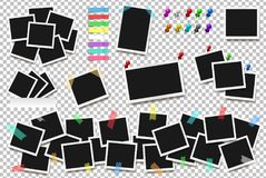 Set of realistic square frames, pins and paper stickers   on transparent background. Vector illustration Royalty Free Stock Images