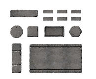 Set of realistic stone interface buttons. Stock Photos