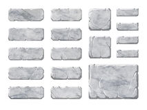 Set of realistic stone interface buttons and elements. Stock Photo
