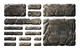 Set of realistic stone interface buttons and elements. Stock Photography