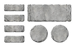 Set of realistic stone interface buttons and elements. Royalty Free Stock Photos