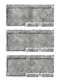 Set of realistic stone interface buttons and elements. Stock Photos