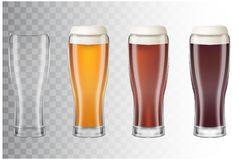 Set of realistic tall beer glasses with different main types of beer. Classic light beer, dark, red and empty glass on Royalty Free Stock Photography