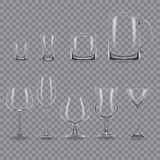 Set of realistic template empty transparent alcohol glasses and mugs. Set of realistic template of an empty transparent alcohol glasses and mugs. Template Royalty Free Stock Photography