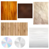 Set of realistic textures - wood, leather, paper, metal Royalty Free Stock Photography