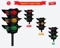 Set of realistic traffic light. stock illustration