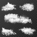 Set of realistic transparent clouds Royalty Free Stock Photography