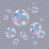 Set of realistic transparent colorful soap  bubbles. Set of realistic transparent colorful soap  bubbles with rainbow reflection  on checkered background Stock Image