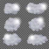 Set of realistic transparent different clouds vector design template Royalty Free Stock Photo