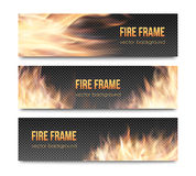 Set of realistic transparent fire flame banners. With transparency grid. Special effects. Vector illustration. Translucent elements. Abstract background with Royalty Free Stock Photos