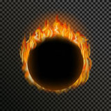 Set of realistic transparent fire flames on a. Realistic transparent fire flame round frame with text space on a black white background. Special light effects Stock Image