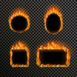 Set of realistic transparent fire flames on a plaid black white grid background. Realistic transparent fire flame frame set with text space on black white Royalty Free Stock Photos