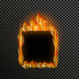 Set of realistic transparent fire flames on a plaid black white grid background. Realistic transparent fire flame frame with text space on a black white Stock Photos