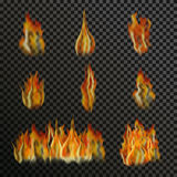 Set of realistic transparent fire flames. On a plaid black white grid background. Special light effects. Translucent bonfire elements. Gradient mesh vector Stock Image