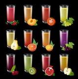 Set realistic transparent glasses of juice on a dark background. stock illustration