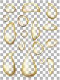 Set of realistic transparent oil drops royalty free illustration
