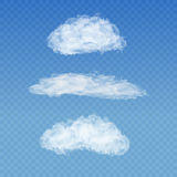 Set of realistic transparent white clouds on a Stock Image