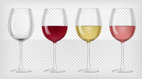 Set of realistic transparent wine glasses. Red, rose and white wine and an empty glass. Graphic design elements for advertisement, flyer, poster, web site Royalty Free Stock Photo